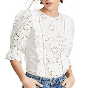 NWT Veronica Beard Gale Blouse White Embroidery